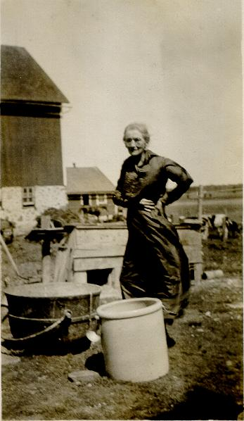 Clara Stahler Tillotson in old age on the farm